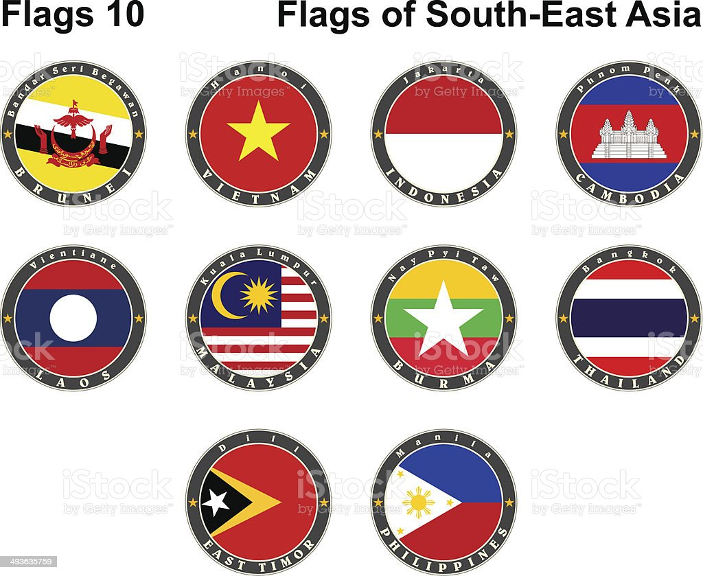Flags of South-East Asia. Flags 10. royalty-free stock vector art