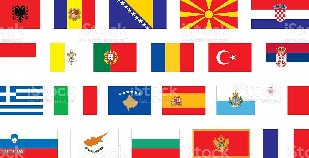 flags of Southern Europe vector art illustration