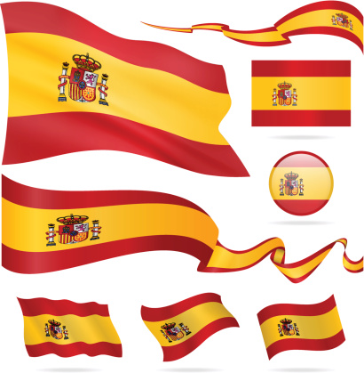 Flags of Spain - icon set - Illustration