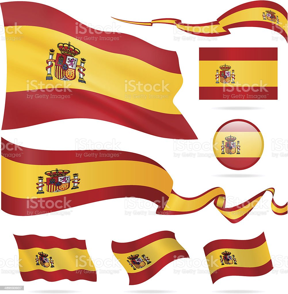 Flags of Spain - icon set - Illustration vector art illustration