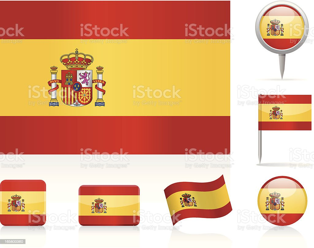 Flags of Spain - icon set vector art illustration