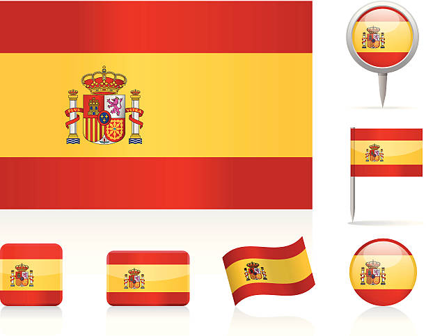flags of spain - icon set - spanish flag stock illustrations, clip art, cartoons, & icons
