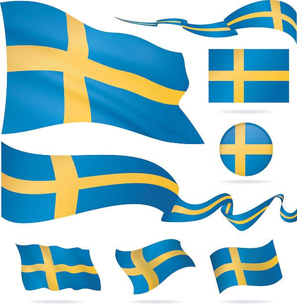 ilustraciones, imágenes clip art, dibujos animados e iconos de stock de banderas de suecia-icono conjunto-ilustración - bandera sueca