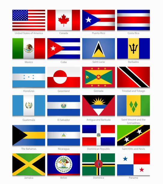 Banderas de las Américas. Primera parte - ilustración de arte vectorial