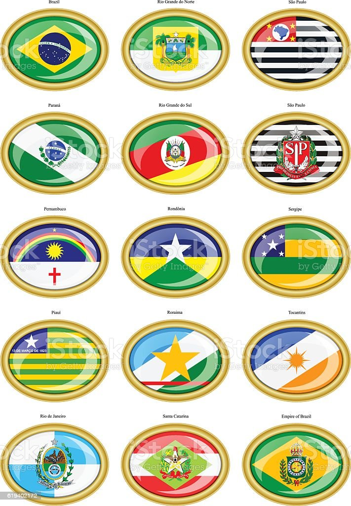 Flags of the Brazilian states. vector art illustration