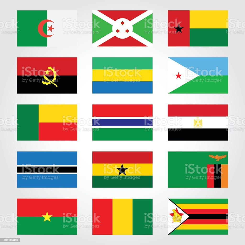 flags of the countries of Africa vector art illustration