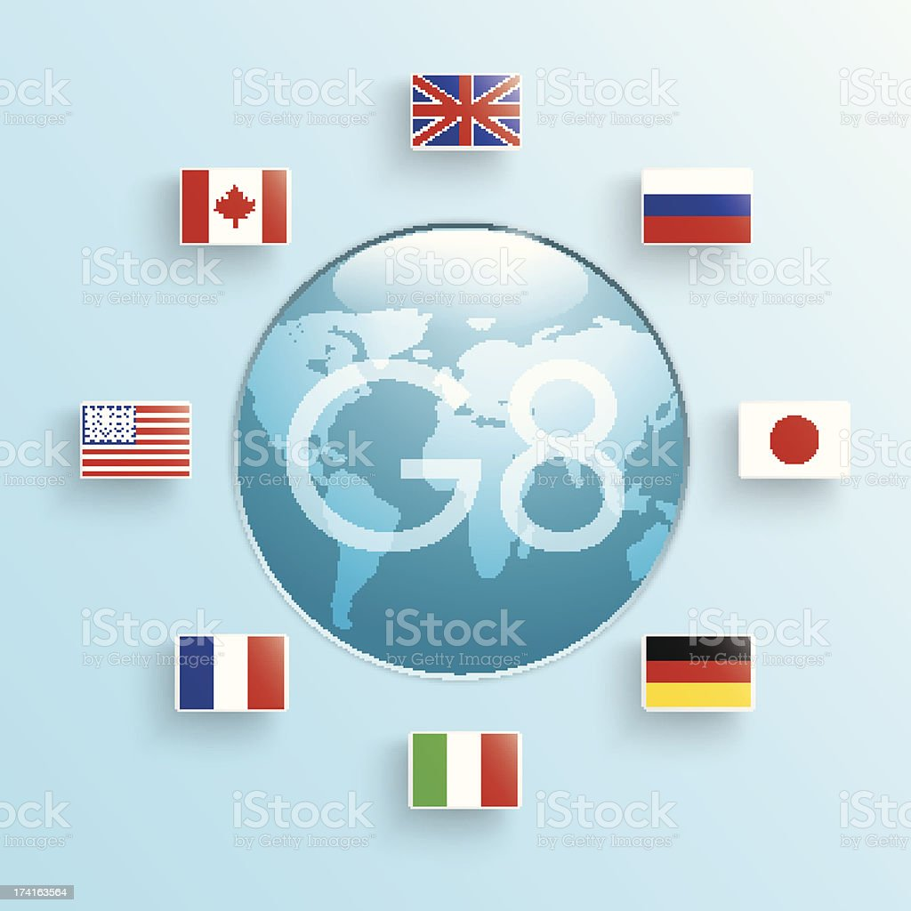 flags of the eight States royalty-free stock vector art