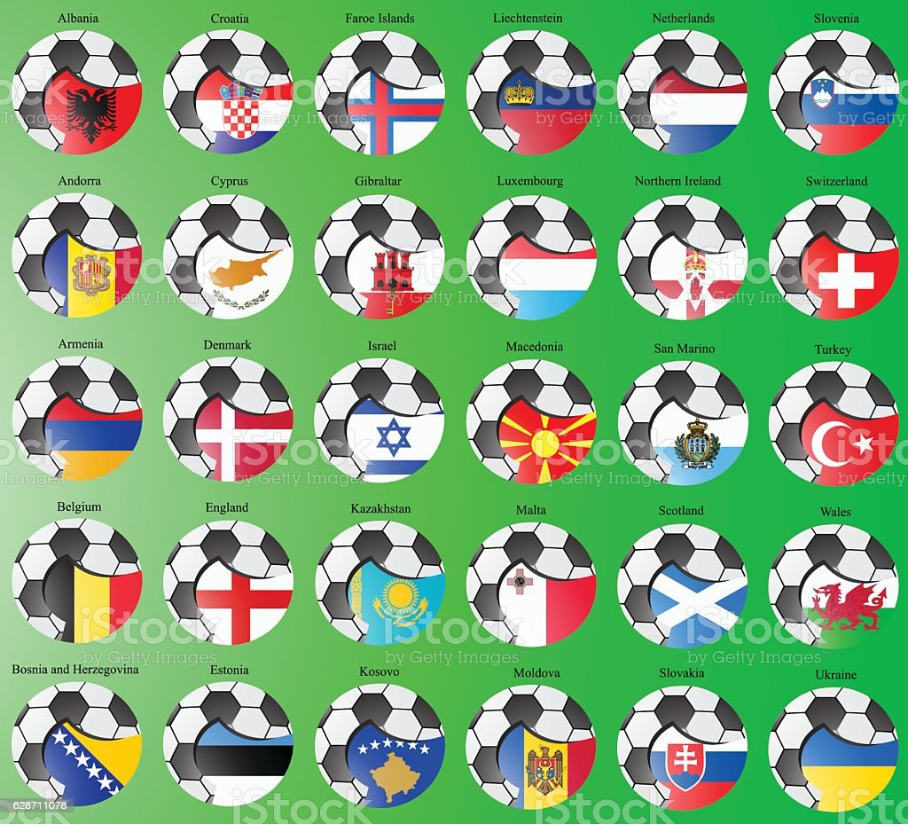 Flags of the Europe with soccer ball vector art illustration