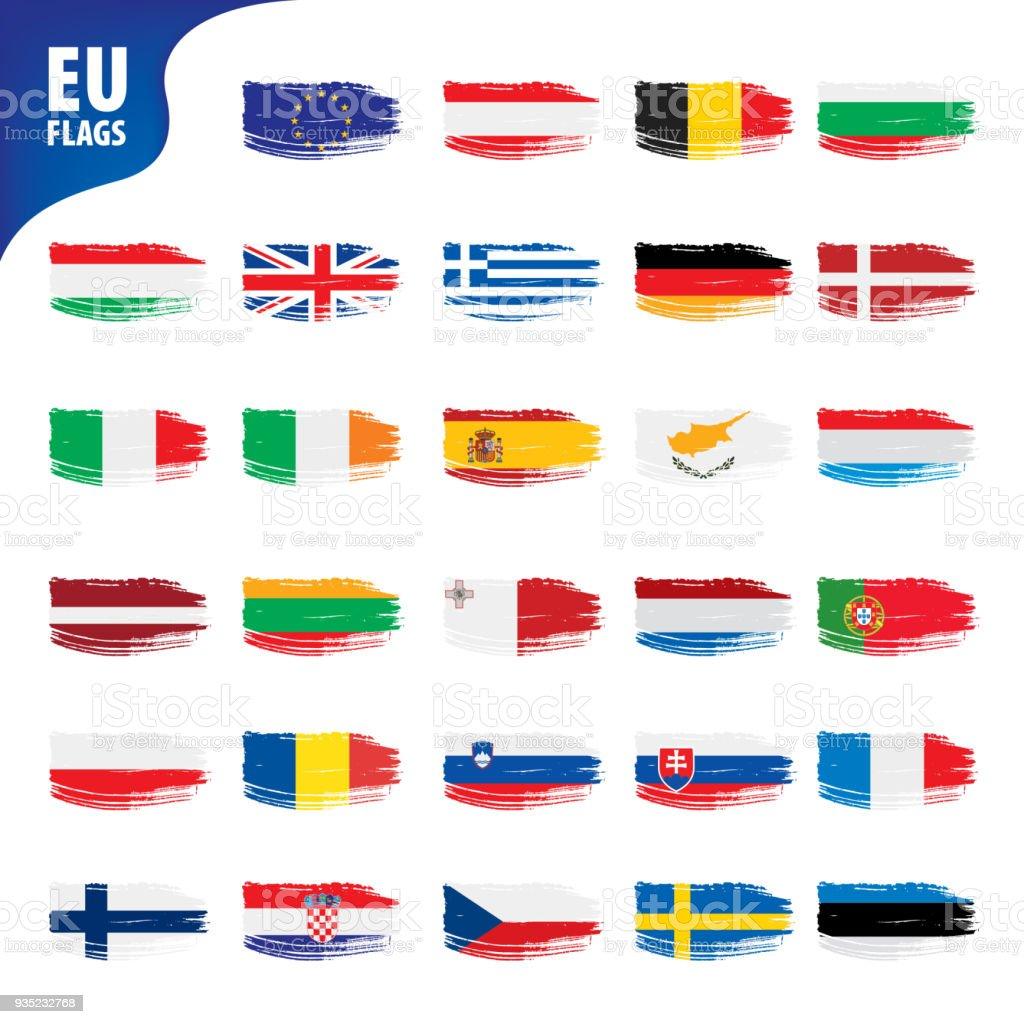 flags of the european union - ilustração de arte vetorial