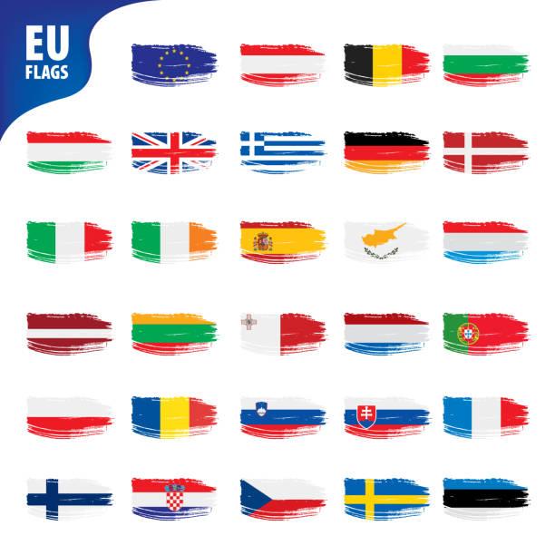 flaggen der europäischen union - flagge irland stock-grafiken, -clipart, -cartoons und -symbole