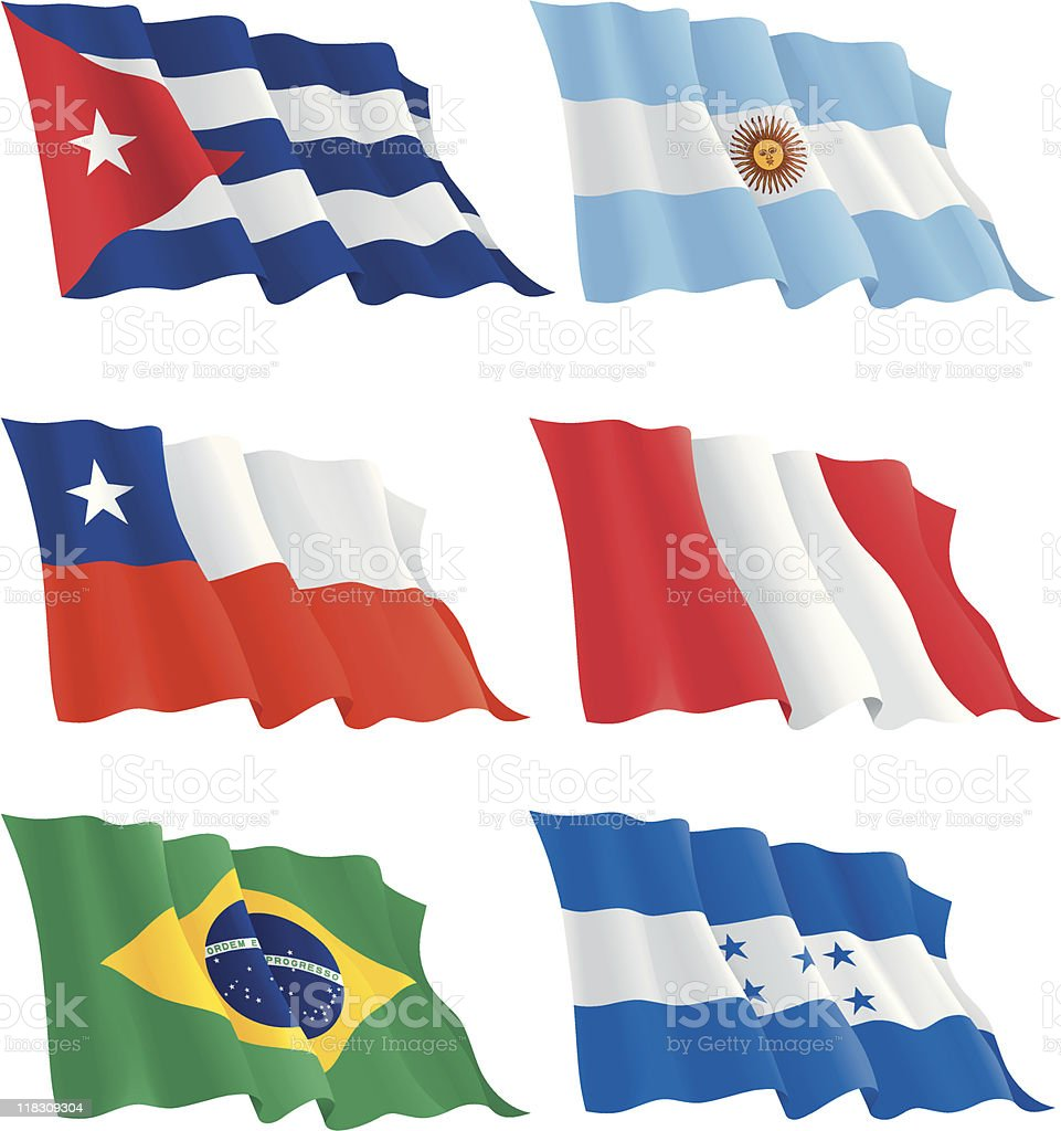 flags of the South and North America countries vector art illustration