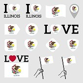 Flag of the State of Illinois USA. Set of Vector Flags of Various Shapes. I Love Illinois. EPS Illustration. Isolated Background.