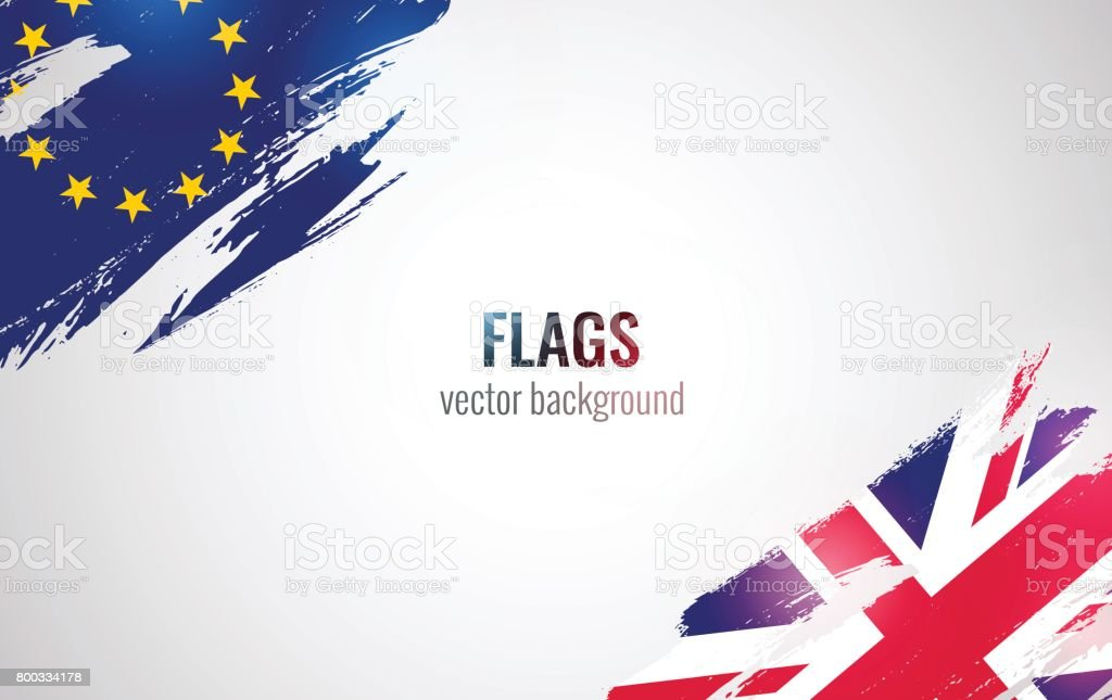 Flags of the United Kingdom and the European Union isolated on white background.