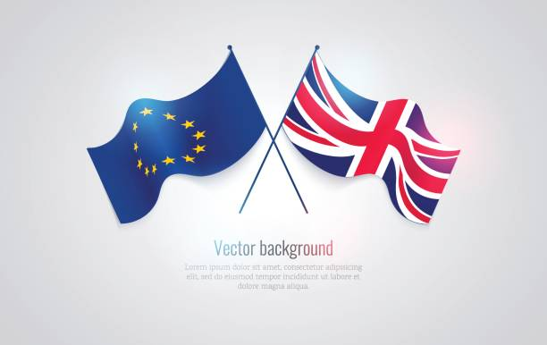 Flags of the United Kingdom and the European Union isolated on white background. Vector illustration Flags of the United Kingdom and the European Union isolated on white background. Vector illustration party conference stock illustrations