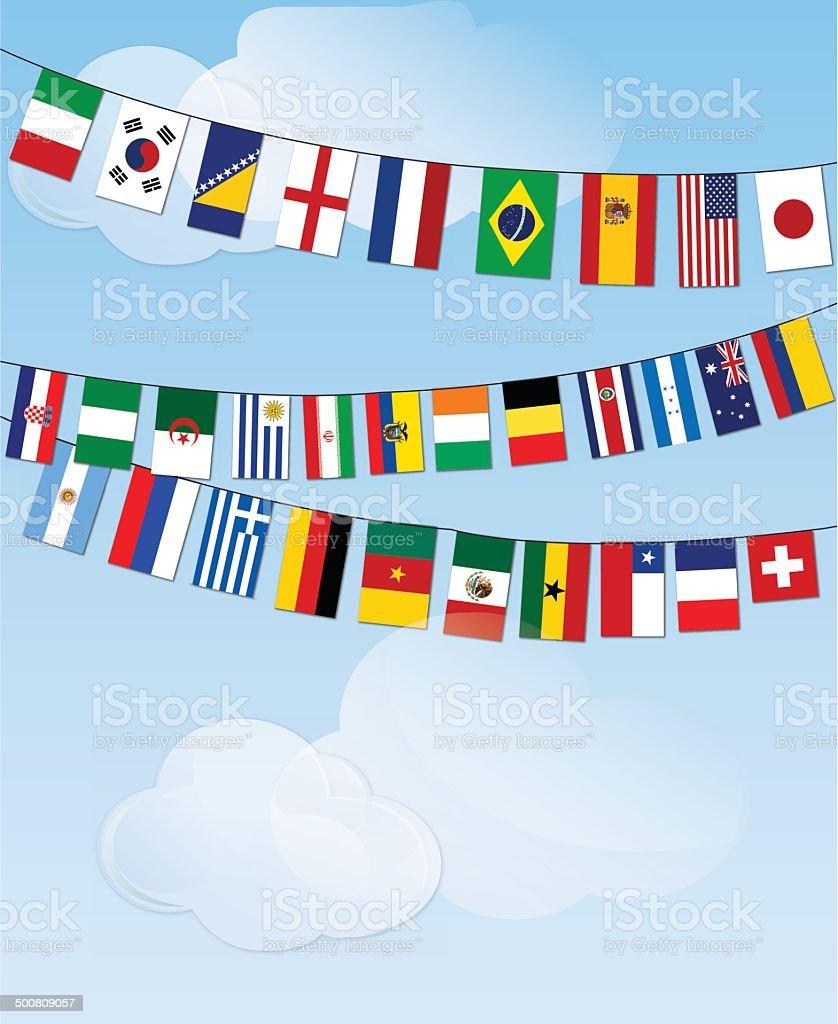 Banderas del mundo bunting en nube - ilustración de arte vectorial