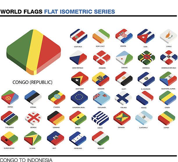ilustraciones, imágenes clip art, dibujos animados e iconos de stock de banderas del mundo, c-i, 3d isométricos icono de diseño plano - bandera de ecuador