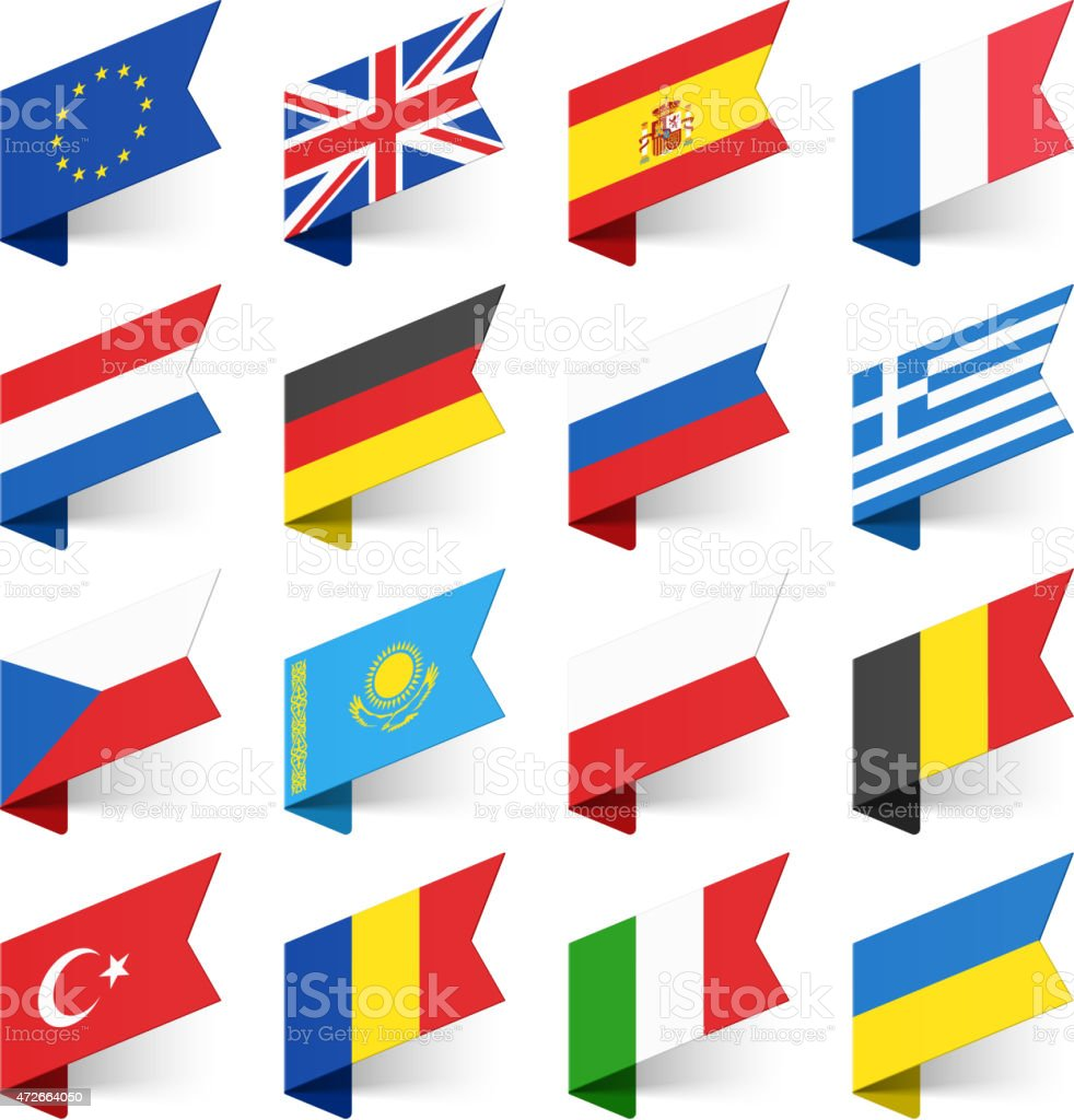 Flags of the World, Europe. vector art illustration