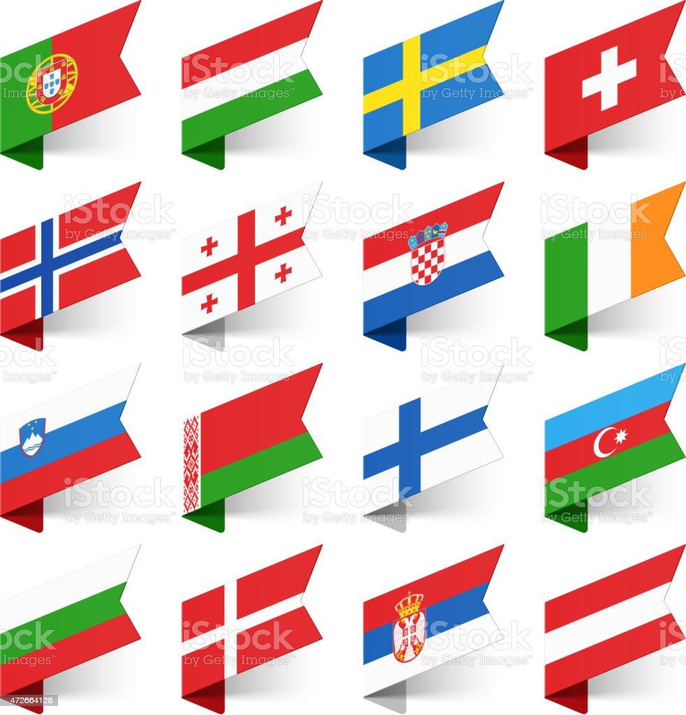 Flaggen der Welt, in Europa. – Vektorgrafik