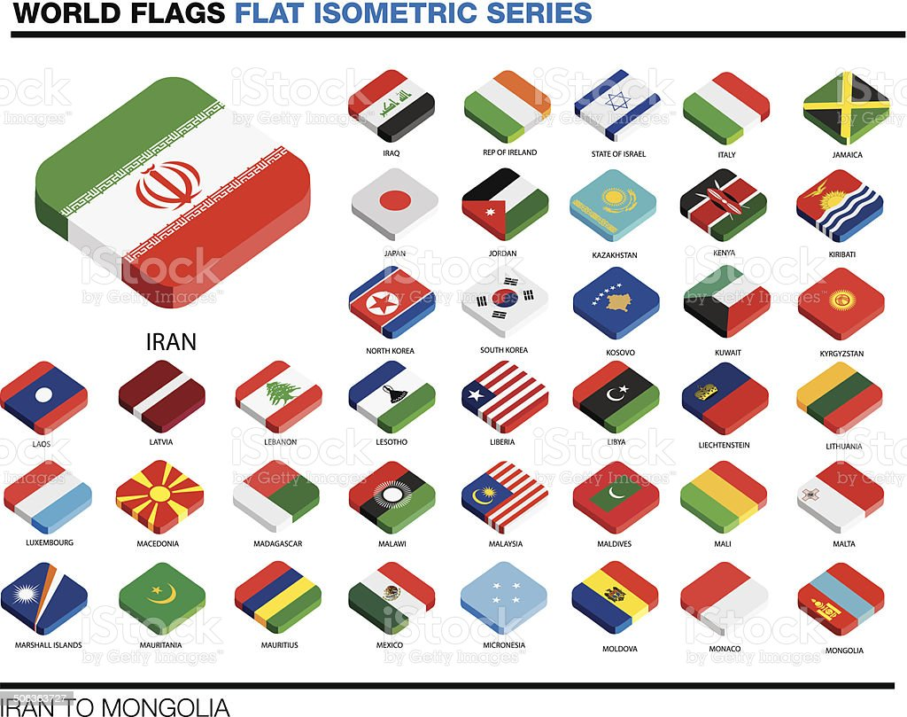flags of the world, i-p,  3d isometric flat icon design vector art illustration