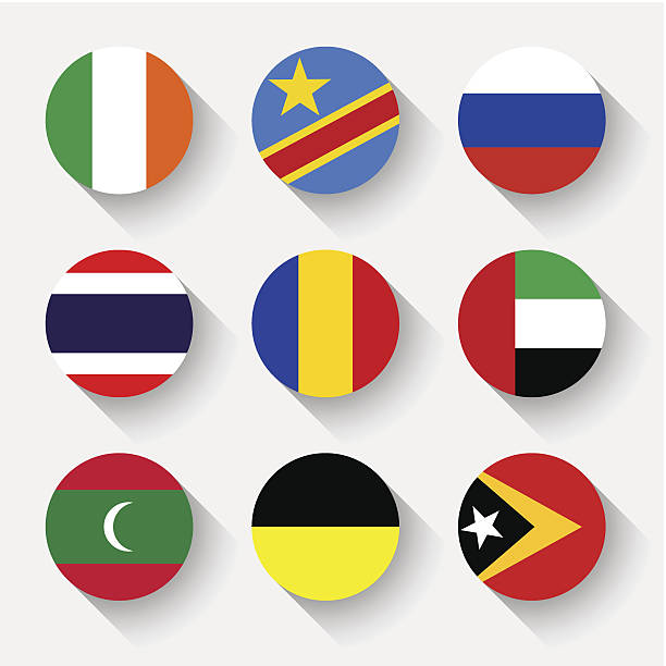 Flags of the world, round buttons Flags of the world, set 14 with shadow lachen stock illustrations