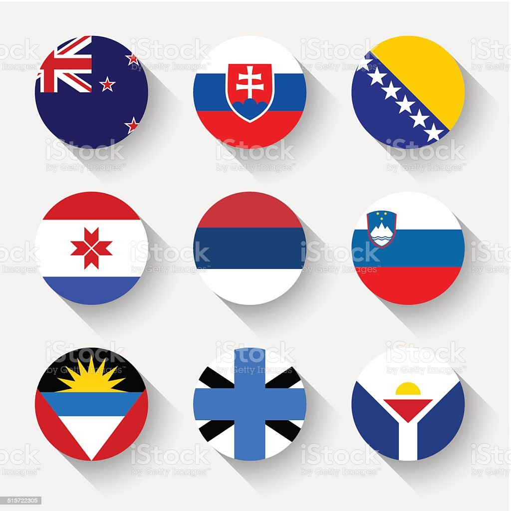 Flags of the world, round buttons vector art illustration