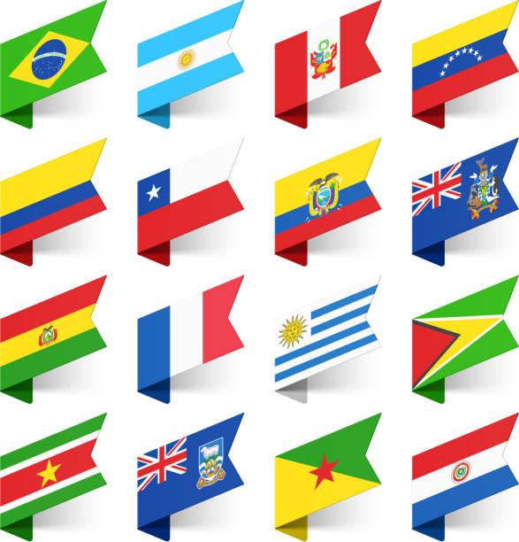 flaggen der welt, südamerika. - flagge ecuador stock-grafiken, -clipart, -cartoons und -symbole