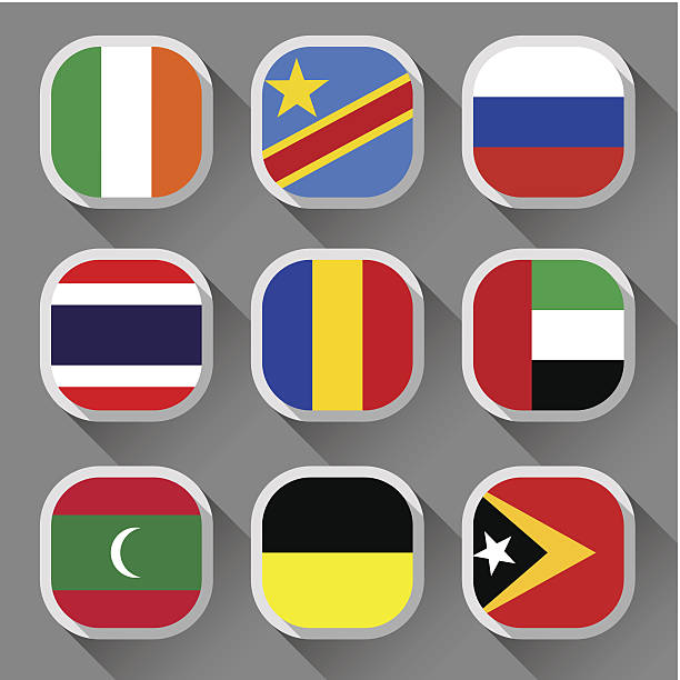Flags of the world Flags of the world, rounded squares with shadow, set 14 lachen stock illustrations