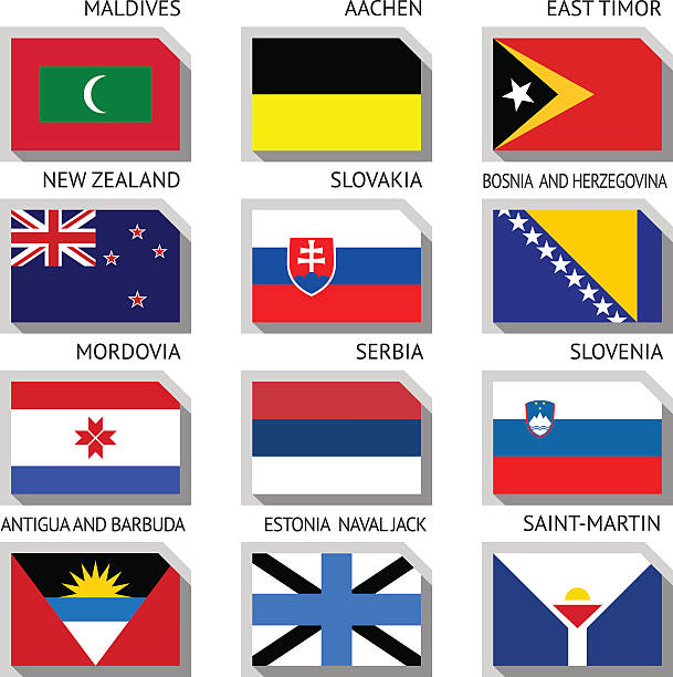 Flags of the world Flags of world, flat vector illustration. Set number 12 lachen stock illustrations