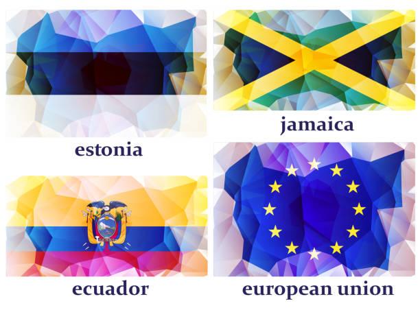 ilustraciones, imágenes clip art, dibujos animados e iconos de stock de banderas del mundo, ilustración vectorial - bandera de ecuador