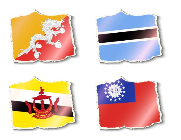 flagi świata, wektor ilustracja - burma home do stock illustrations