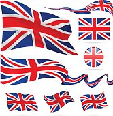 Flags of United Kingdom - icon set - Illustration