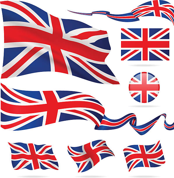 flags of united kingdom - icon set - illustration - union jack flag stock illustrations, clip art, cartoons, & icons