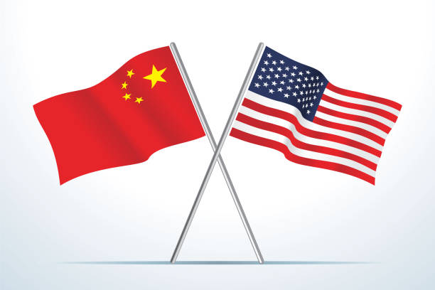 Flags of USA and China, Vector vector art illustration