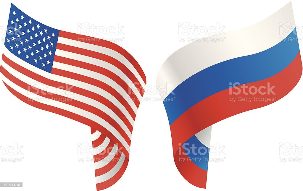 Flags of USA and Russia. royalty-free stock vector art