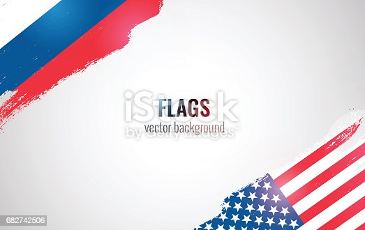 Flags of USA and Russian Federation isolated on white background. Vector illustration
