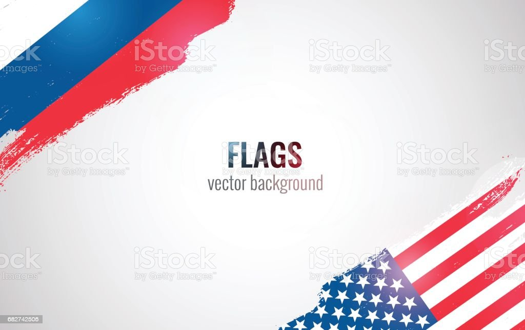 Flags of USA and Russian Federation isolated on white background. vector art illustration