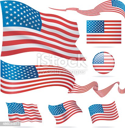 United States - waving flags and icons
