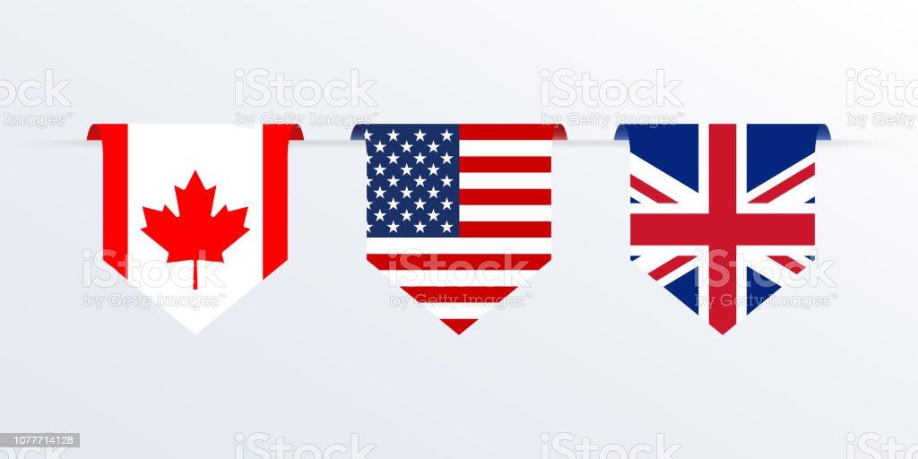 アメリカ、イギリス、カナダのリボンやペナントのフラグです。アメリカ、イギリス、カナダの旗を掛けています。ベクトルの図。 ベクターアートイラスト