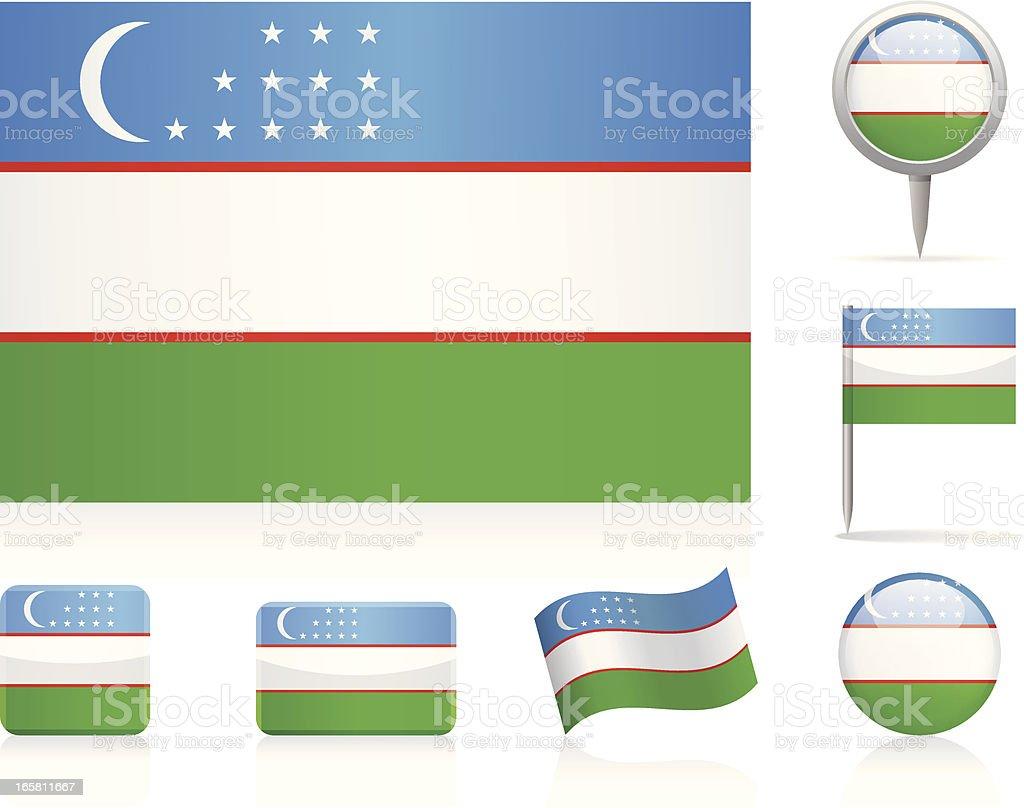 Flags of Uzbekistan - icon set royalty-free stock vector art