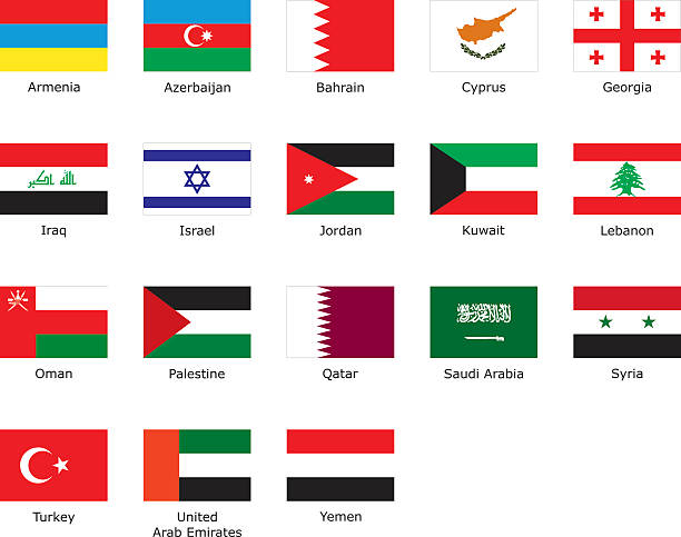 flags of Western Asia flags of Western Asia with an aspect ratio of 2:3 with country names azerbaijan stock illustrations