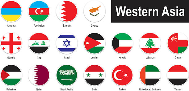 flags of western asia - oman stock illustrations