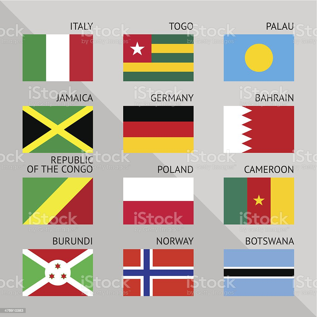 Flags of world, flat. Set number 06 royalty-free stock vector art