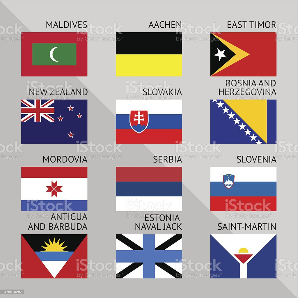 Flags of world, flat. Set number 12 royalty-free stock vector art