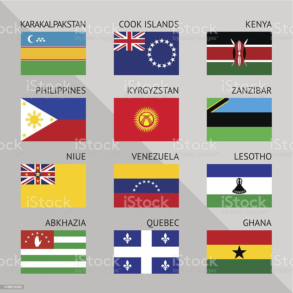 Flags of world, flat. Set number 16 royalty-free flags of world flat set number 16 stock vector art & more images of abkhazia