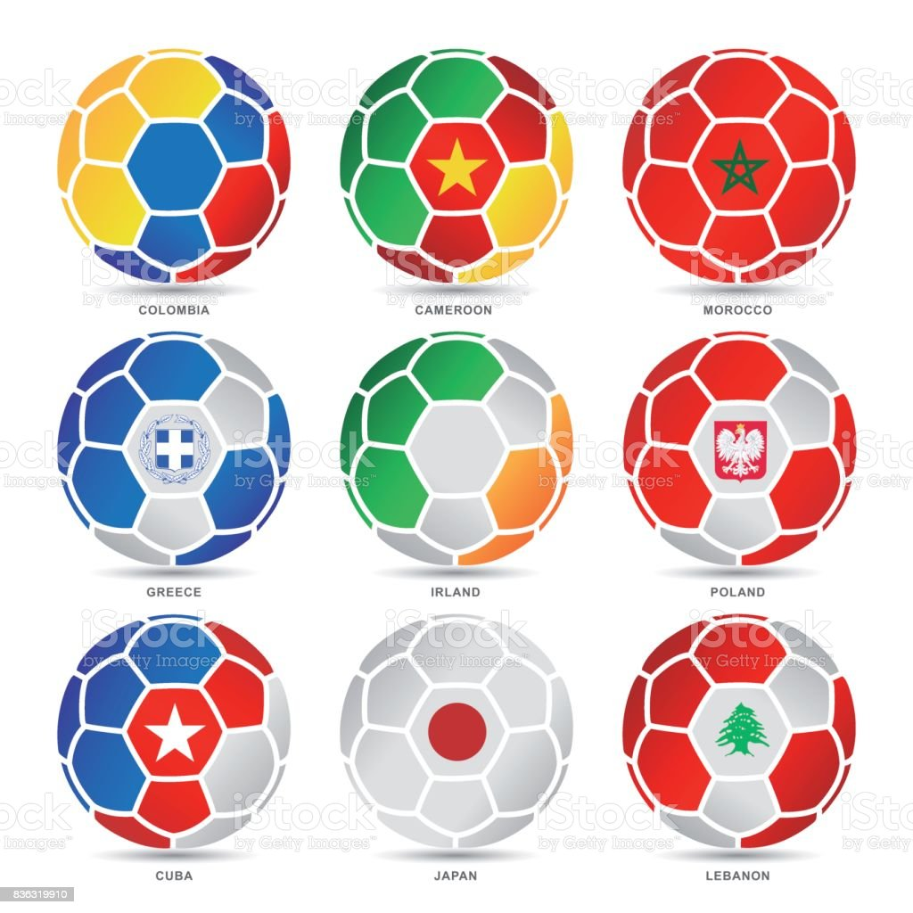 Flaggen der Welt-Fußball-Bälle – Vektorgrafik