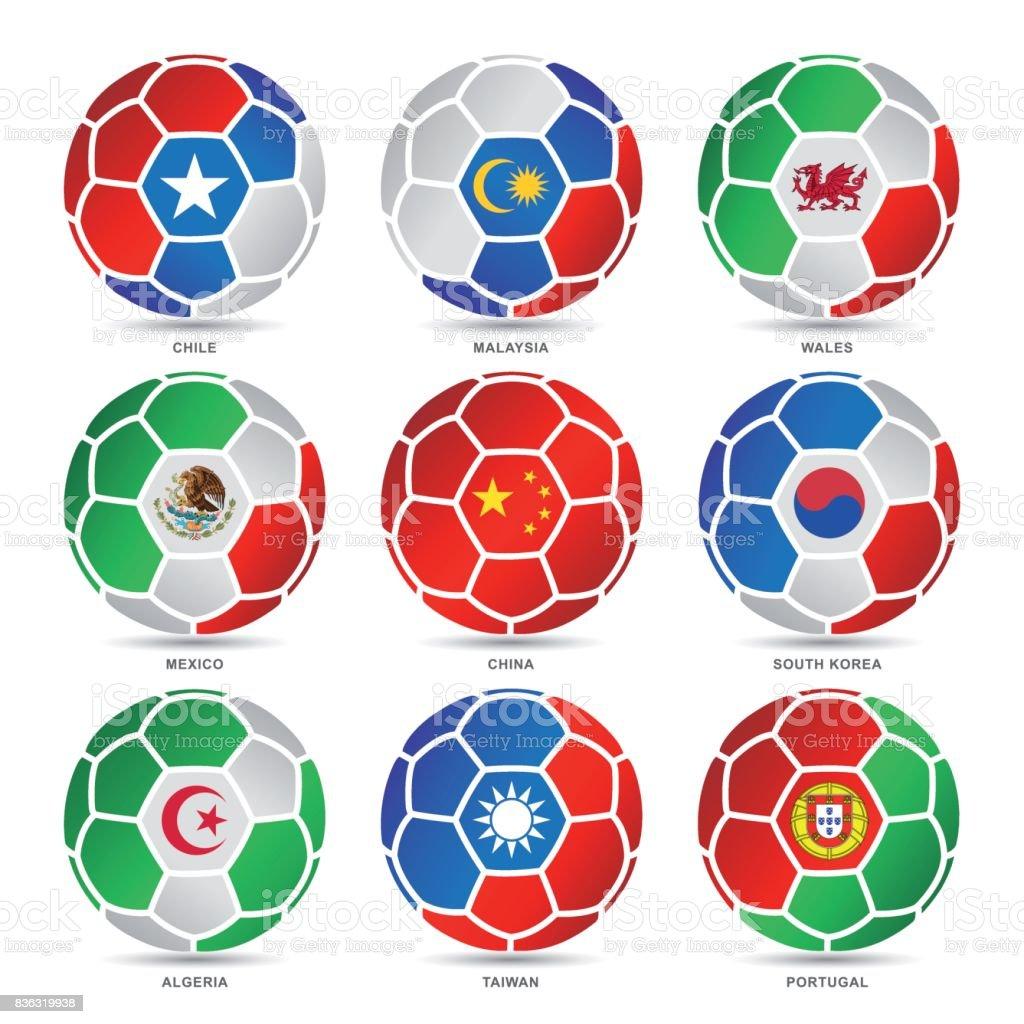 Flags of world on soccer balls - ilustração de arte vetorial