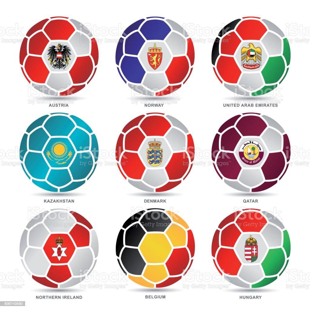Banderas del mundo de fútbol de pelotas - ilustración de arte vectorial