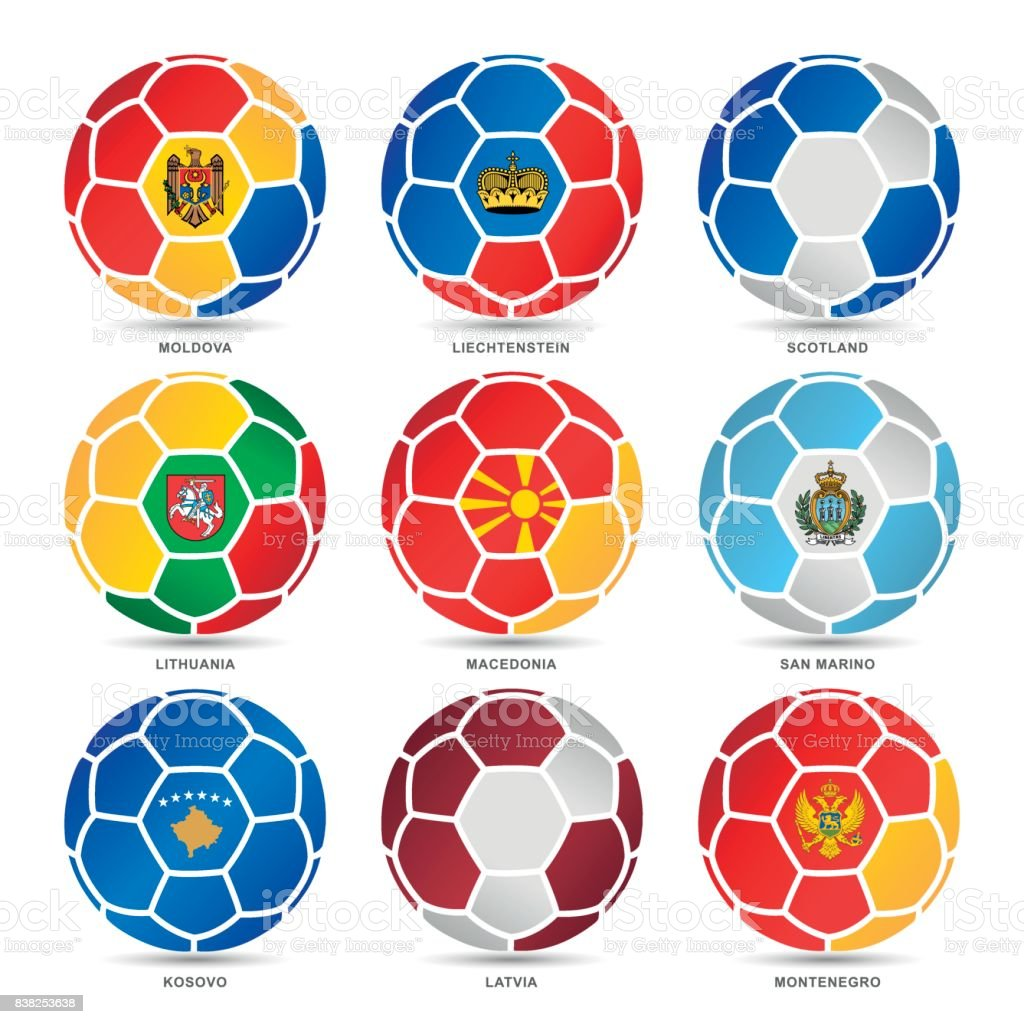Flags of world on soccer balls vector art illustration