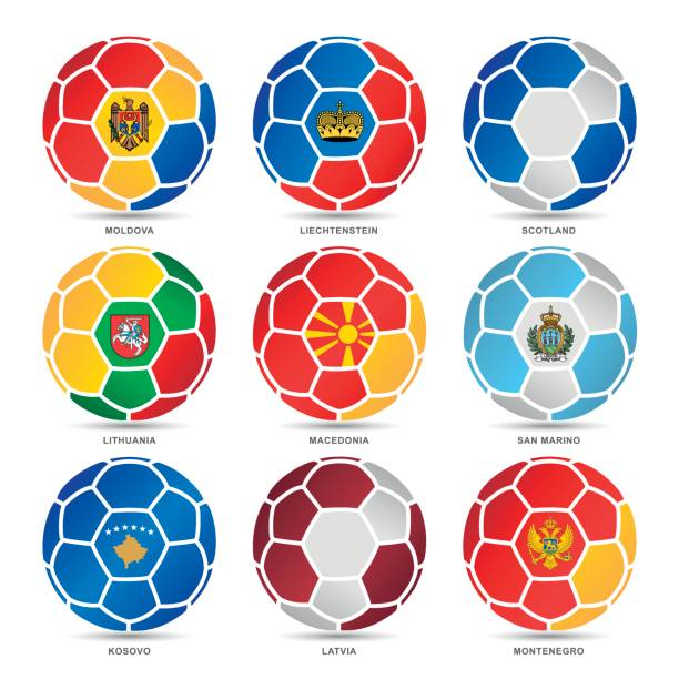 flags of world on soccer balls - macedonia country stock illustrations, clip art, cartoons, & icons
