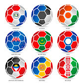Flags of world on soccer balls. Eps10 vector illustration with layers (removeable). EPS and high resolution jpeg file included (300dpi).